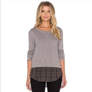 Monrow French Plaid Double Layer Sweatshirt Gray